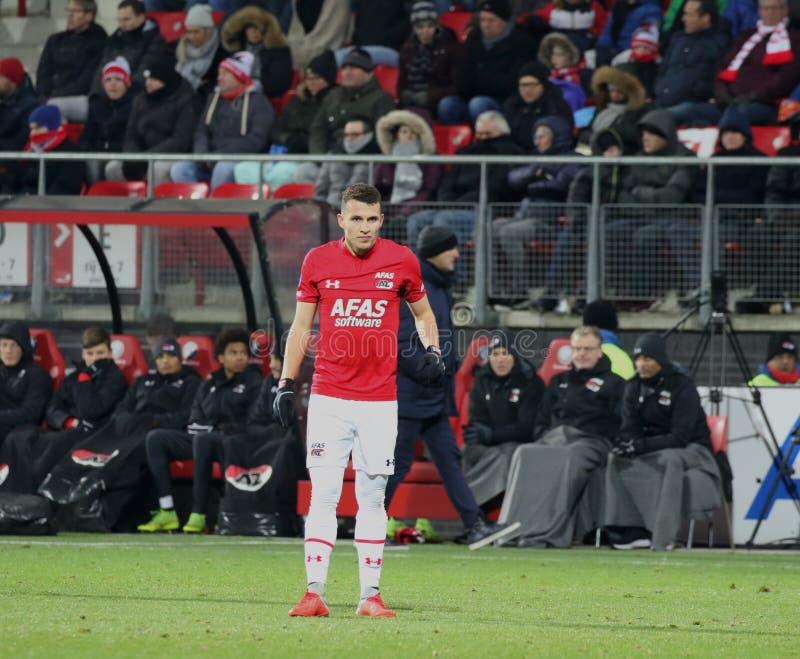 ALKMAAR holandie, GRUDNIA 15 2018 AZ gracz futbolu Oussama Idrissi zdjęcie stock