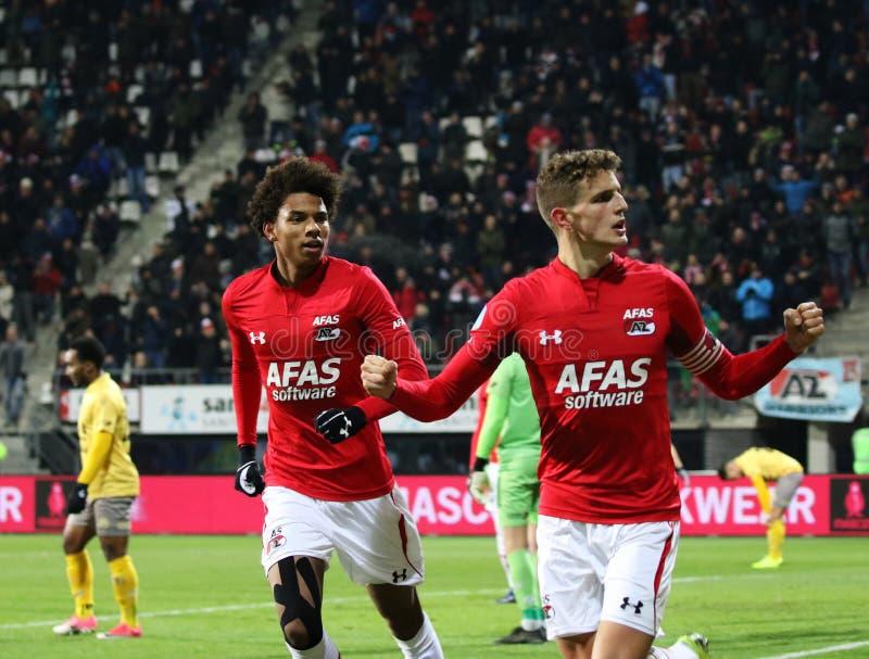 ALKMAAR, NEDERLAND, 15 DECEMBER de Voetbalster Guus Til van 2018 van AZ royalty-vrije stock afbeelding