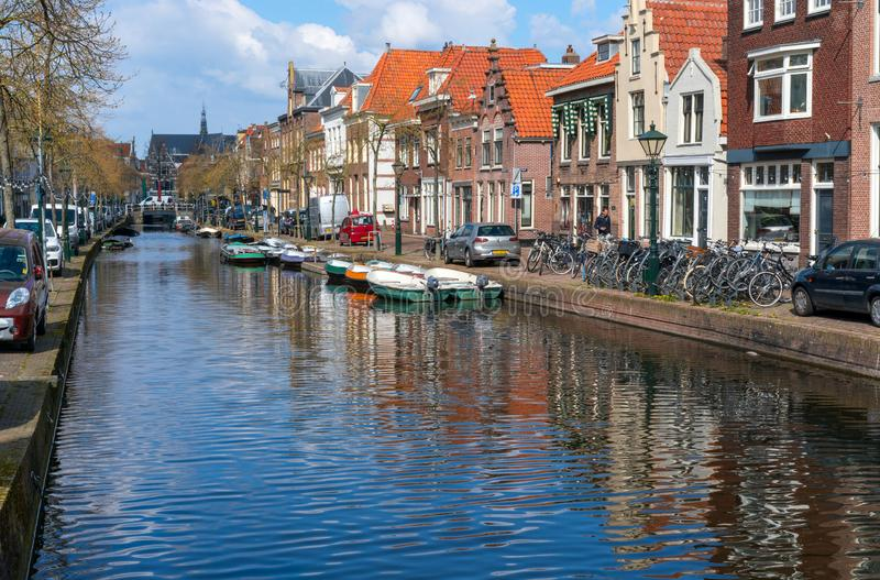 Alkmaar, the Netherlands - April 12, 2019: The old city centre of Alkmaar in North-Holland in the Netherlands. Also known as the royalty free stock photo