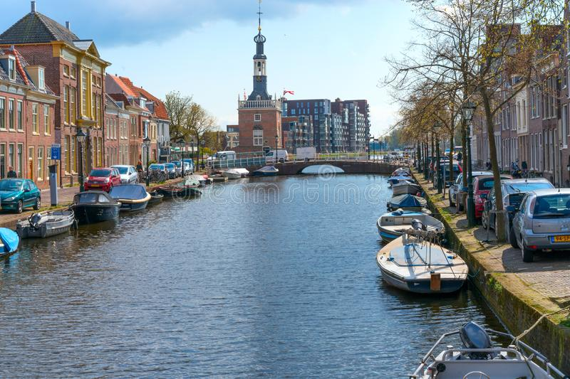 Alkmaar, the Netherlands - April 12, 2019: The old city centre of Alkmaar in North-Holland in the Netherlands. Also known as the stock photo