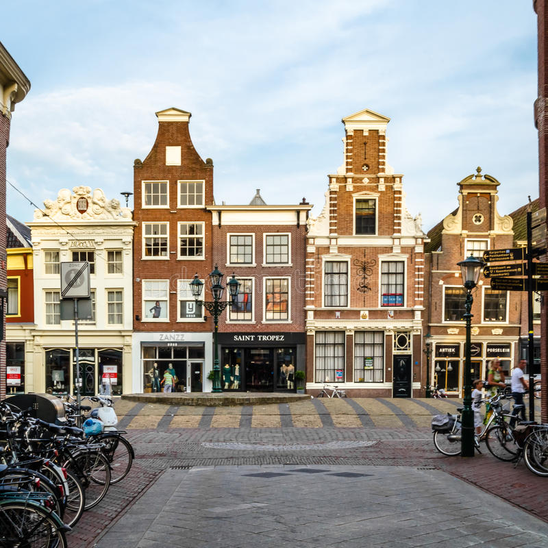 ALKMAAR, THE NETHERLANDS - AUGUST 25, 2013: Architecture in Alkmaar, the Netherlands, commercial street stock photo
