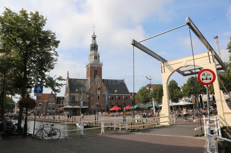 Alkmaar, Netherlands - August 24, 2017: drawbridge and the churc royalty free stock photos