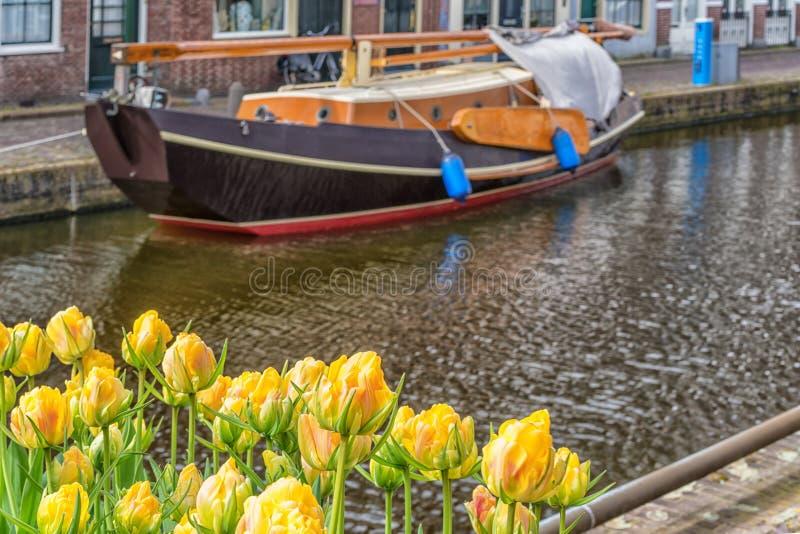 Alkmaar, os Pa?ses Baixos - 12 de abril de 2019: O centro de cidade velho de Alkmaar na Norte-Holanda nos Pa?ses Baixos Igualment imagens de stock