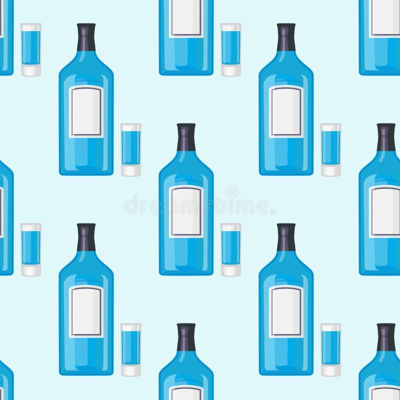 Alkoholów napojów napojów koktajlu butelki bezszwowy wzór ilustracji