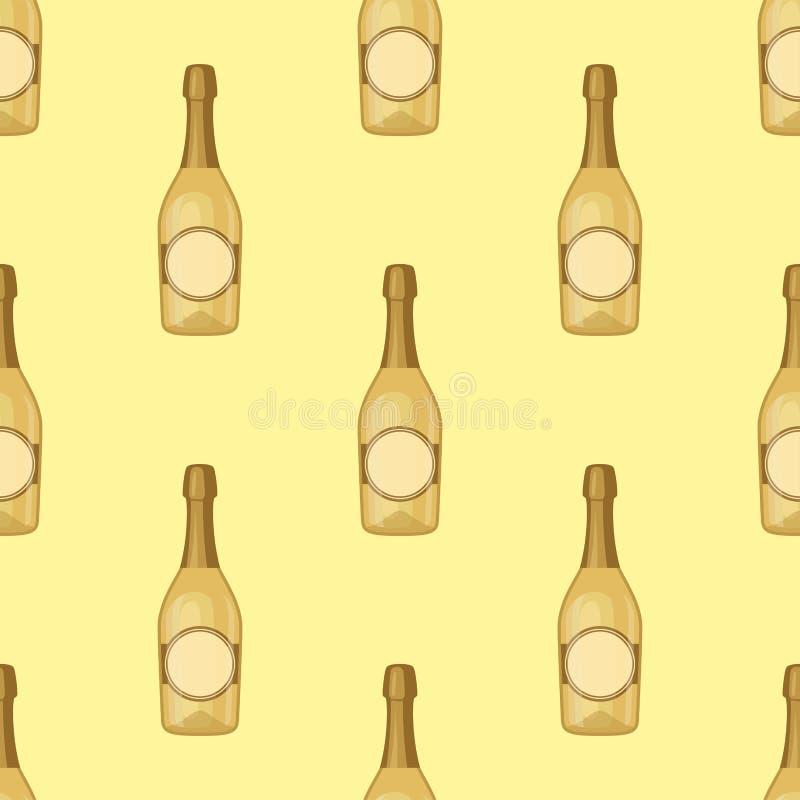 Alkoholów napojów napojów koktajlu butelki bezszwowy wzór royalty ilustracja