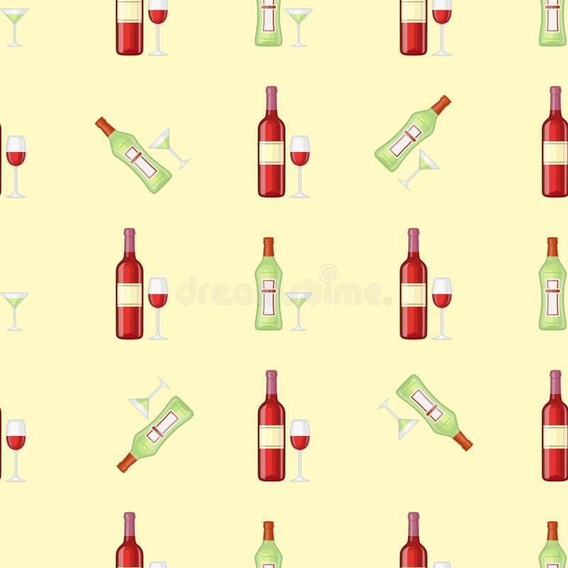 Alkoholów napojów napojów koktajlu butelki lager szkieł wektoru bezszwowy deseniowy zbiornik pijąca różna ilustracja ilustracji