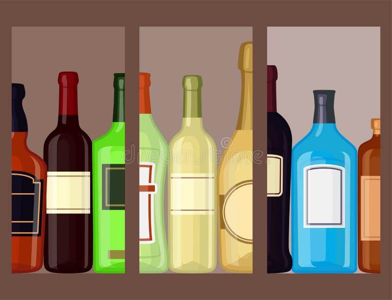 Alkoholów napojów napojów koktajlu karty butelkują lager zbiornika ilustracji
