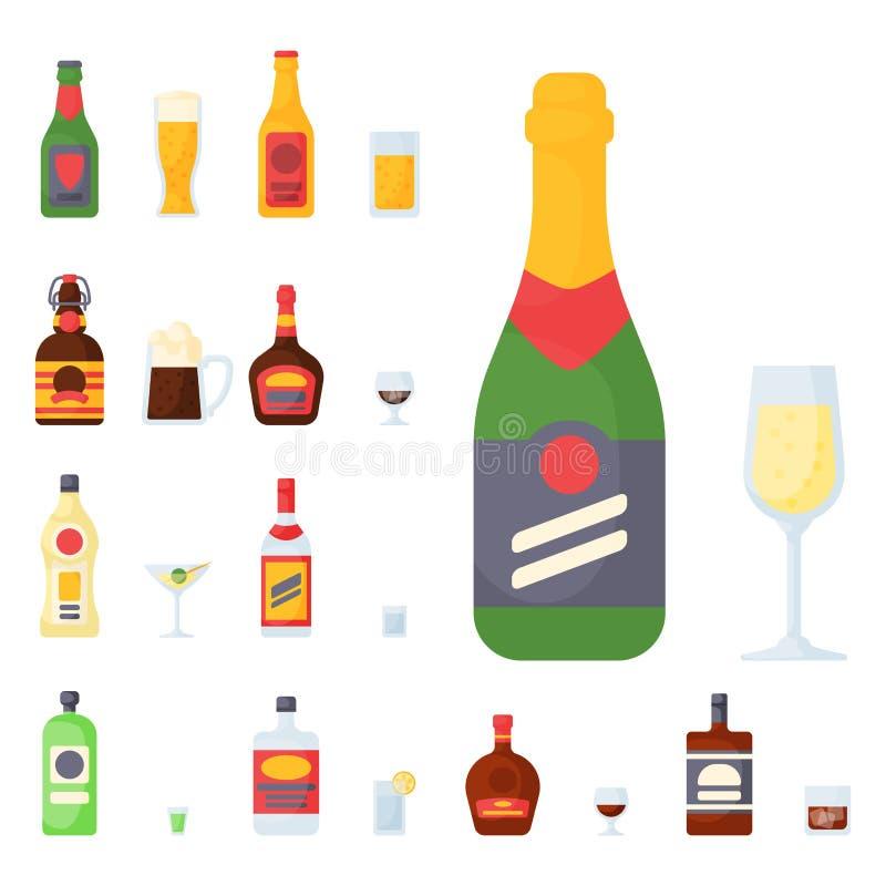 Alkoholów napojów napojów koktajlu butelki lager szkieł wektoru zbiornik pijąca różna ilustracja royalty ilustracja