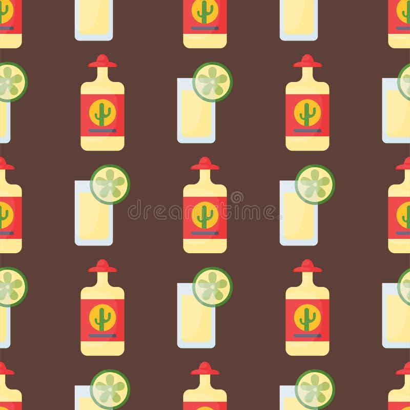 Alkoholów napojów napojów koktajlu szkieł wektoru bezszwowa deseniowa butelka pijąca ilustracja royalty ilustracja