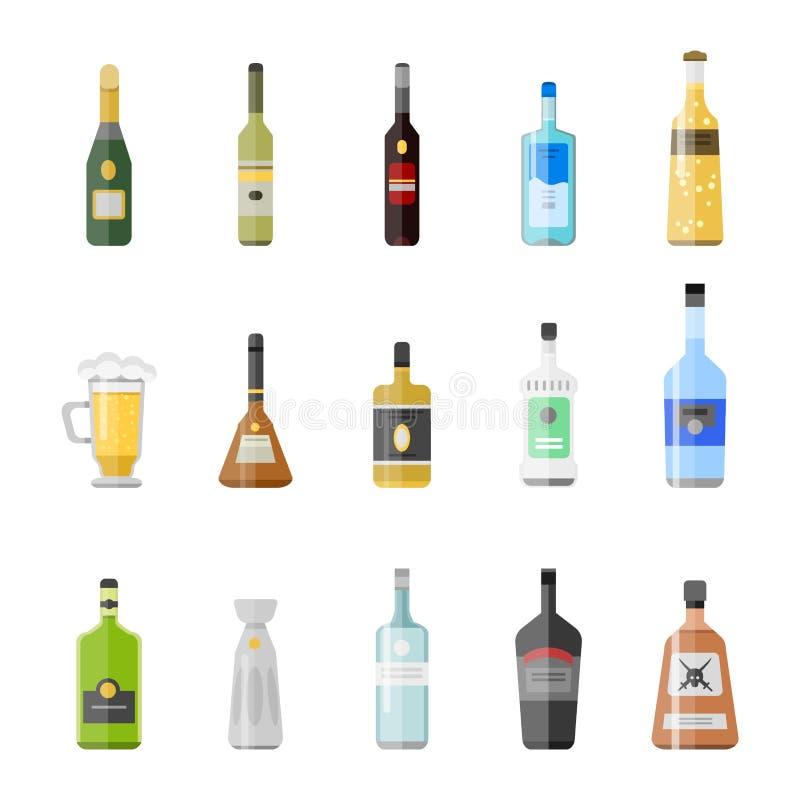 Alkoholów napojów napojów koktajlu zakąski butelki lager szkieł wektoru zbiornik pijąca różna ilustracja ilustracja wektor