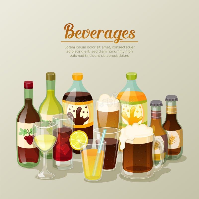 Alkoholów napojów wciąż i napojów życie ilustracji