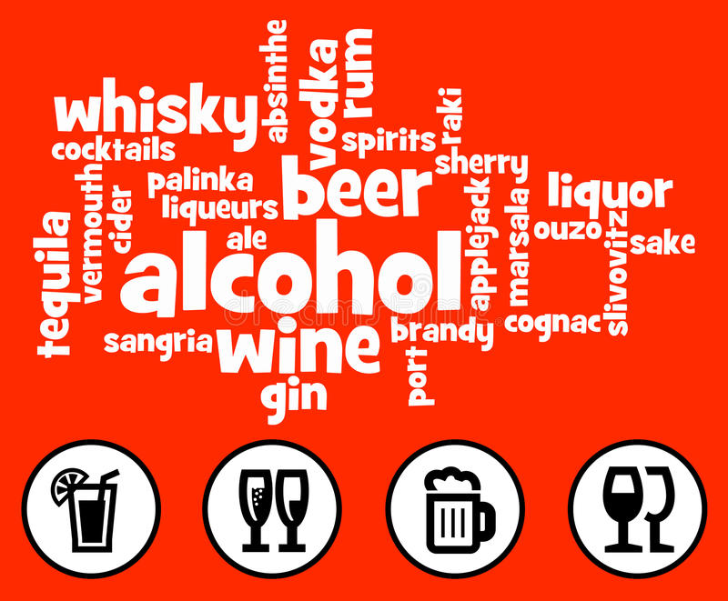 Alkoholów napoje ilustracja wektor
