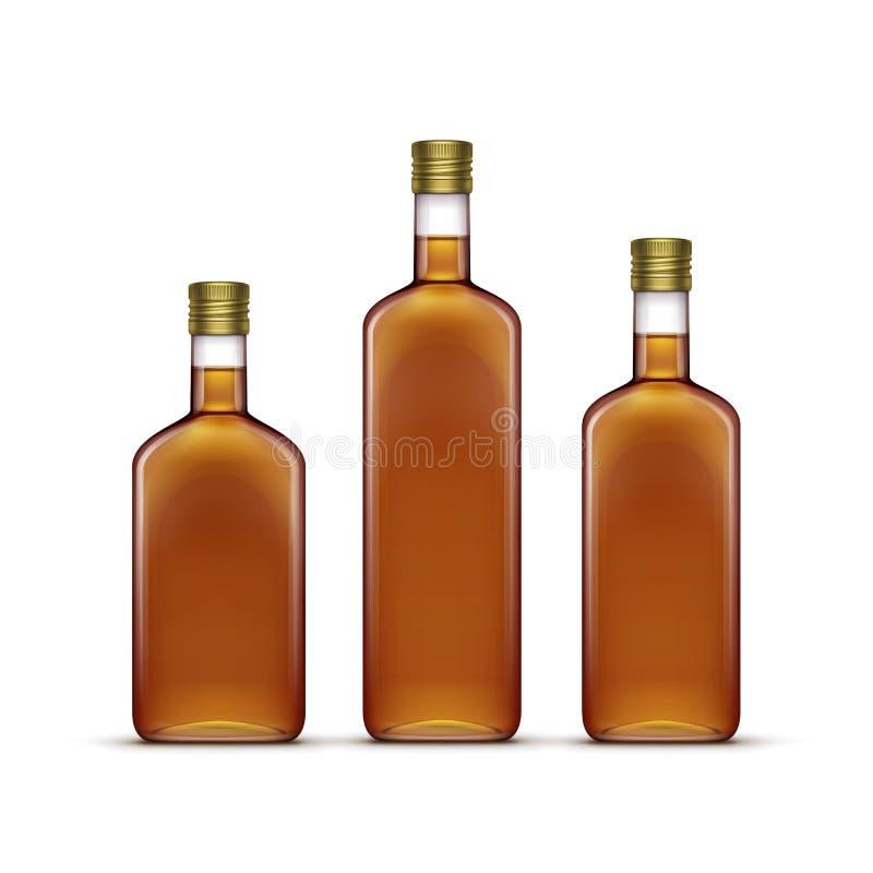 Alkohol-alkoholische Getränkegetränk-Whisky-Sonnenblume Olive Oil Glass Bottles vektor abbildung