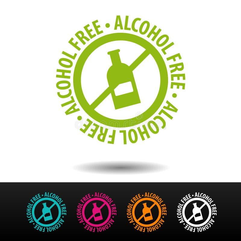 Alkohol bezpłatna odznaka, logo, ikona Płaska ilustracja na białym tle Może być używać biznesowa firma royalty ilustracja