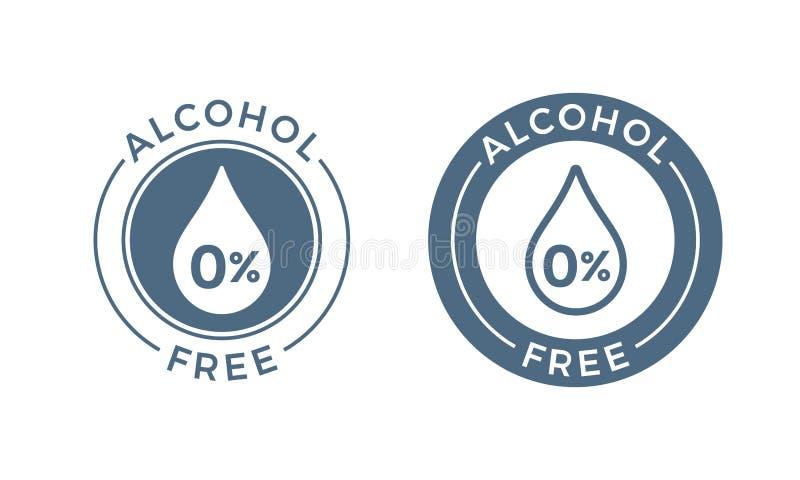 Alkohol bezpłatna wektorowa ikona Skóra, ciało opieki produktu kosmetycznego medycznego alkoholu bezpłatna kropla i procentu symb royalty ilustracja