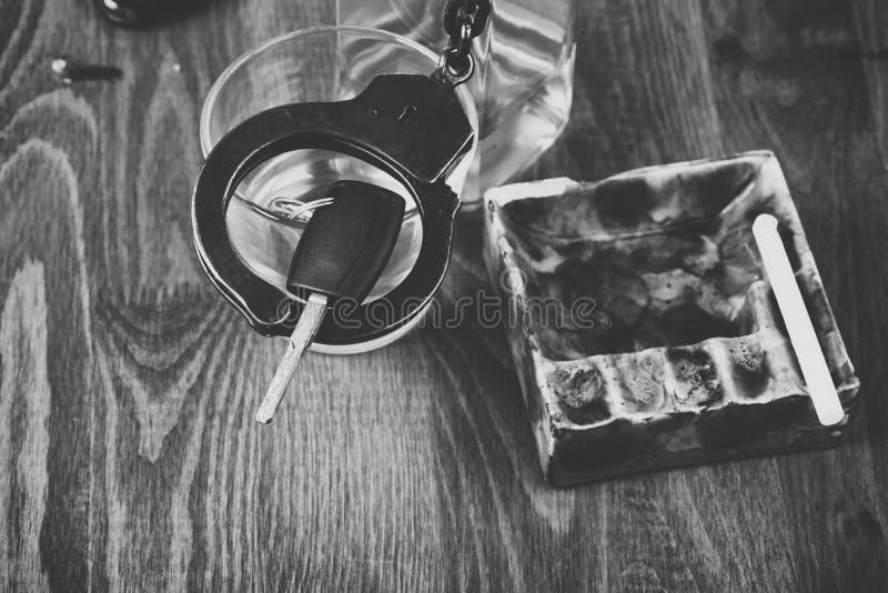 Alkohol bil, tangenter, tragedi arkivbild