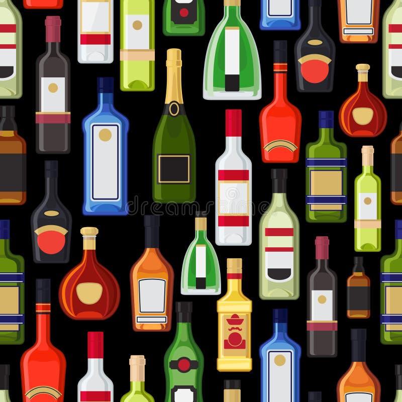 Alkohol butelkuje kolorowego wzór ilustracja wektor