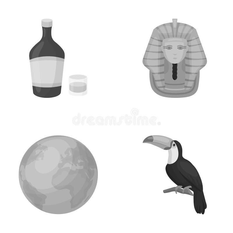 Alkohol, Erde und andere einfarbige Ikone in der Karikaturart Geschichte, Vogelikonen in der Satzsammlung stock abbildung