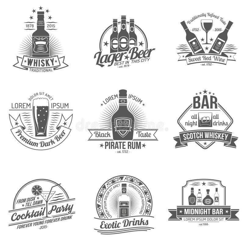 Alkohol etykietki set royalty ilustracja