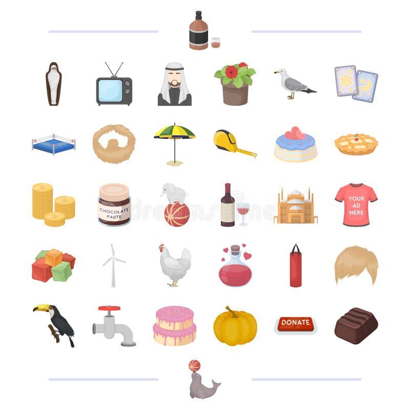 Alkohol, finans, sportar och annan rengöringsduksymbol i tecknad film utformar historia magi, välgörenhetsymboler i uppsättningsa stock illustrationer