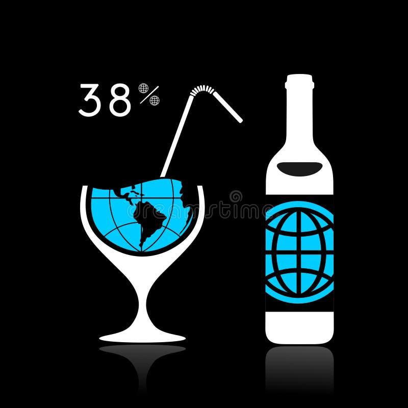 Alkohol i świat royalty ilustracja