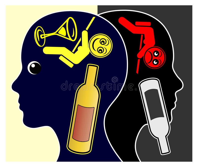 Alkohol i depresja royalty ilustracja