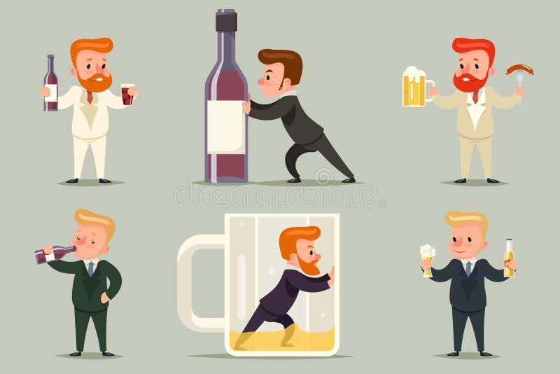 Alkohol manlig Guy Character Different Positions för ölromwhisky och för tecknad film för uppsättning för handlingalkoholismsymbo stock illustrationer