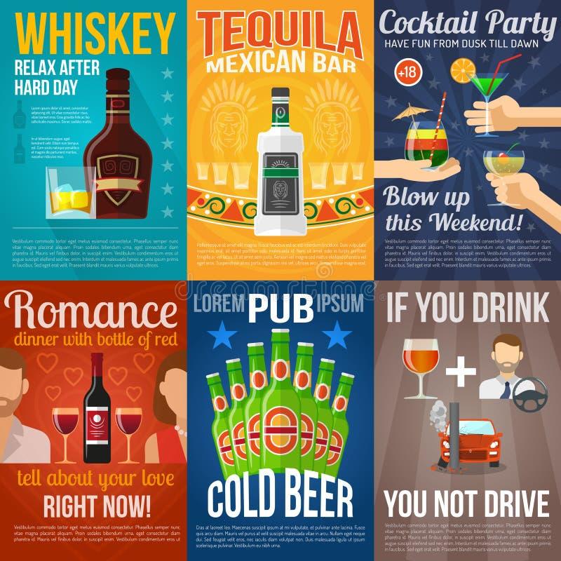 Alkohol Mini Poster Set stock abbildung