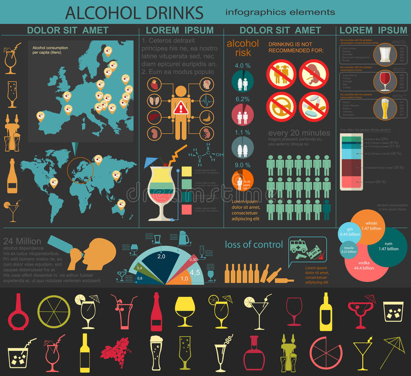 Alkohol pije infographic ilustracja wektor