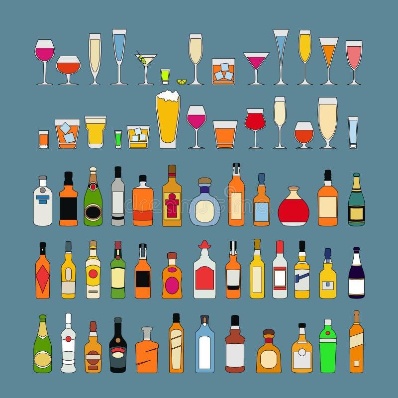 Alkohol pije kolekcj? Butelki z szk?ami Ajerówki wina szampańskiego whisky brandy tequila koniaka trunku wermutu dżinu piwny rum ilustracja wektor