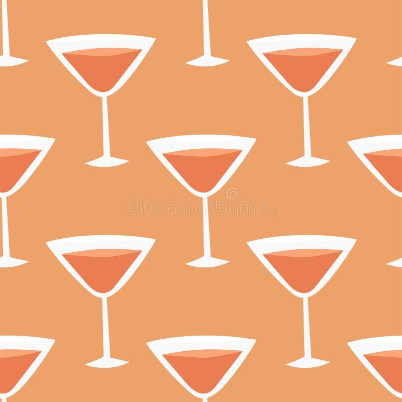 Alkohol pije napoju koktajlu lager bezszwowego deseniowego zbiornika ilustracja wektor