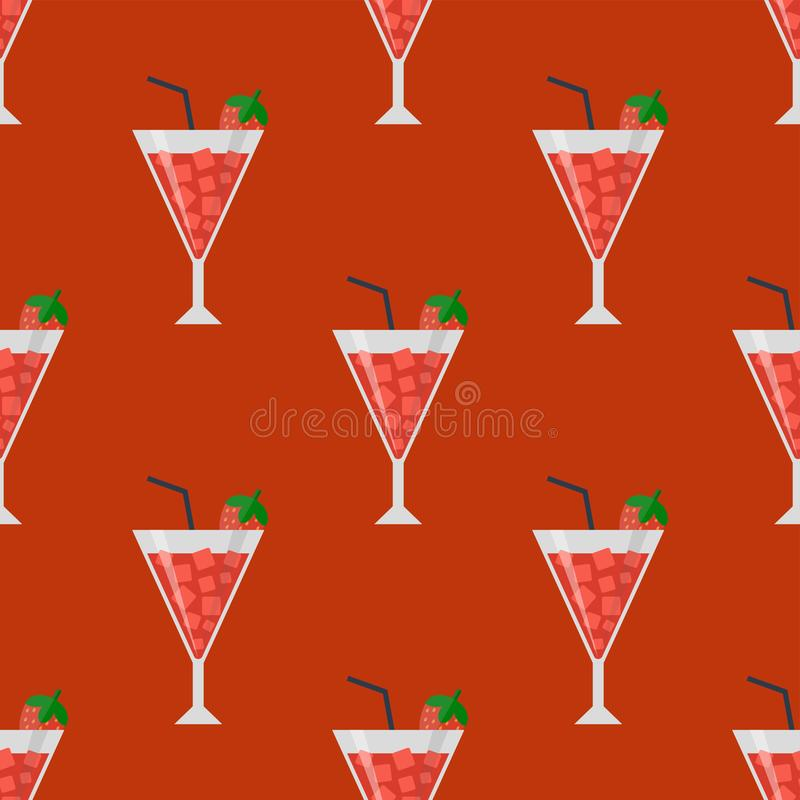 Alkohol pije napoju koktajlu lager daiquiri szkieł wektoru bezszwowy deseniowy zbiornik pijącą ilustrację ilustracji
