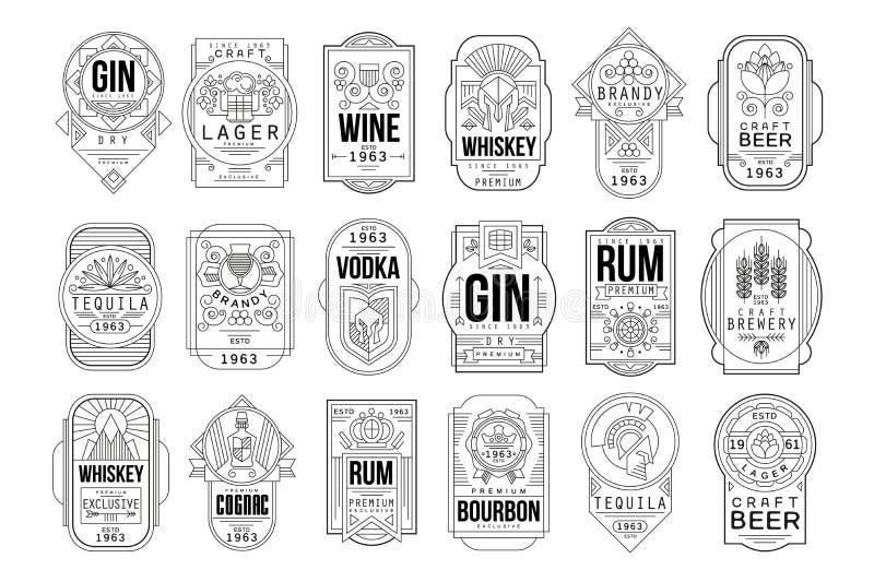 Alkohol przylepia etykietk? set, retro alkoholu przemys?u monochromatycznego emblemata wektorowa ilustracja na bia?ym tle royalty ilustracja