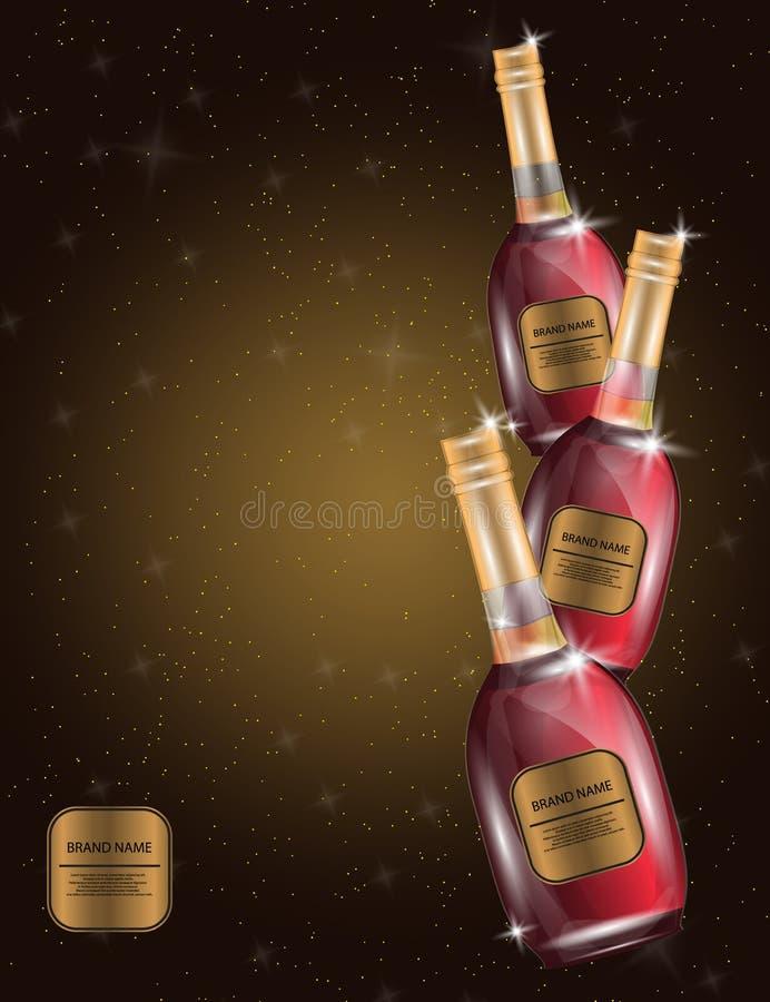 Alkohol rött vin, flaskor för vitt vin på den mousserande Backgrounen vektor illustrationer