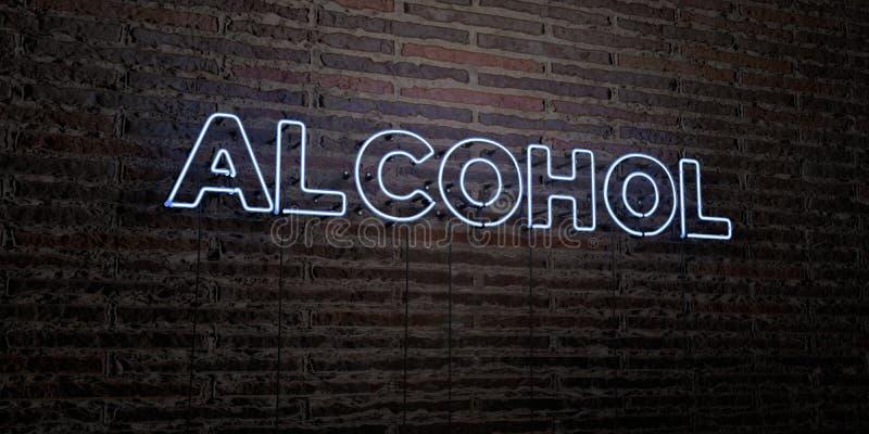ALKOHOL - realistische Leuchtreklame auf Backsteinmauerhintergrund - 3D übertrug freies Archivbild der Abgabe lizenzfreie abbildung