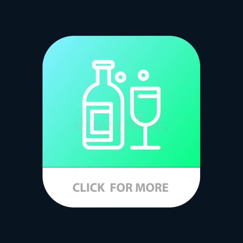 Alkohol stång, drink, mobil Appknapp för whisky Android och IOS-linje version royaltyfri illustrationer