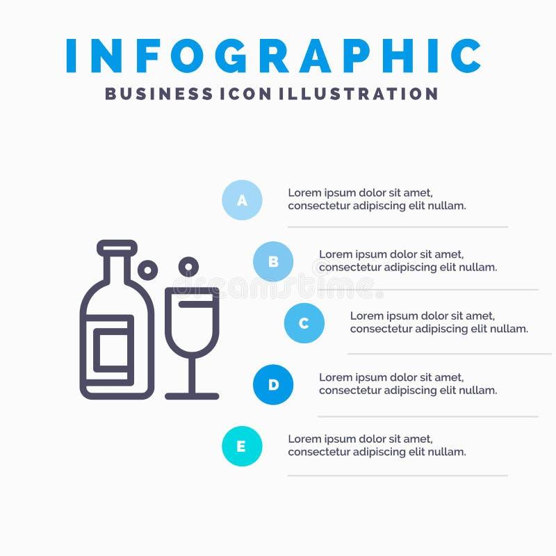 Alkohol stång, drink, whiskylinje symbol med för presentationsinfographics för 5 moment bakgrund vektor illustrationer