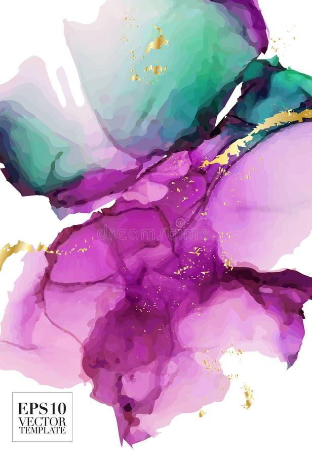 Alkohol-Tintenform Vektor der hohen Qualit?t im Rosa, in den gr?nen Kontrastfarben und in den Goldscheinen Moderne abstrakte Male lizenzfreie abbildung