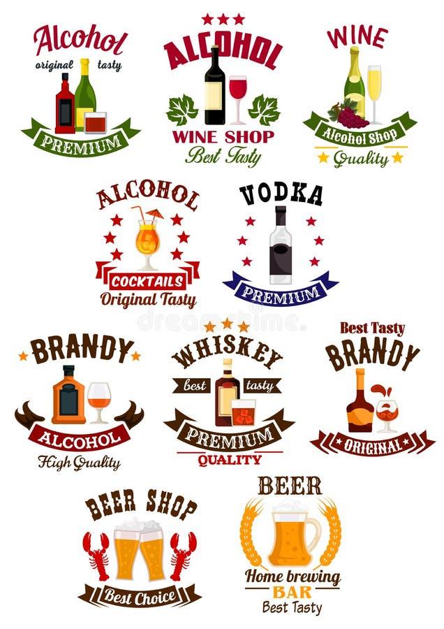 Alkohol trinkt Ausweissatz für Bar, Weinhandlungsdesign lizenzfreie abbildung