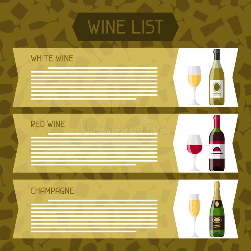 Alkohol trinkt Menü oder Weinliste Flaschen, Gläser für Restaurants und Bars stock abbildung