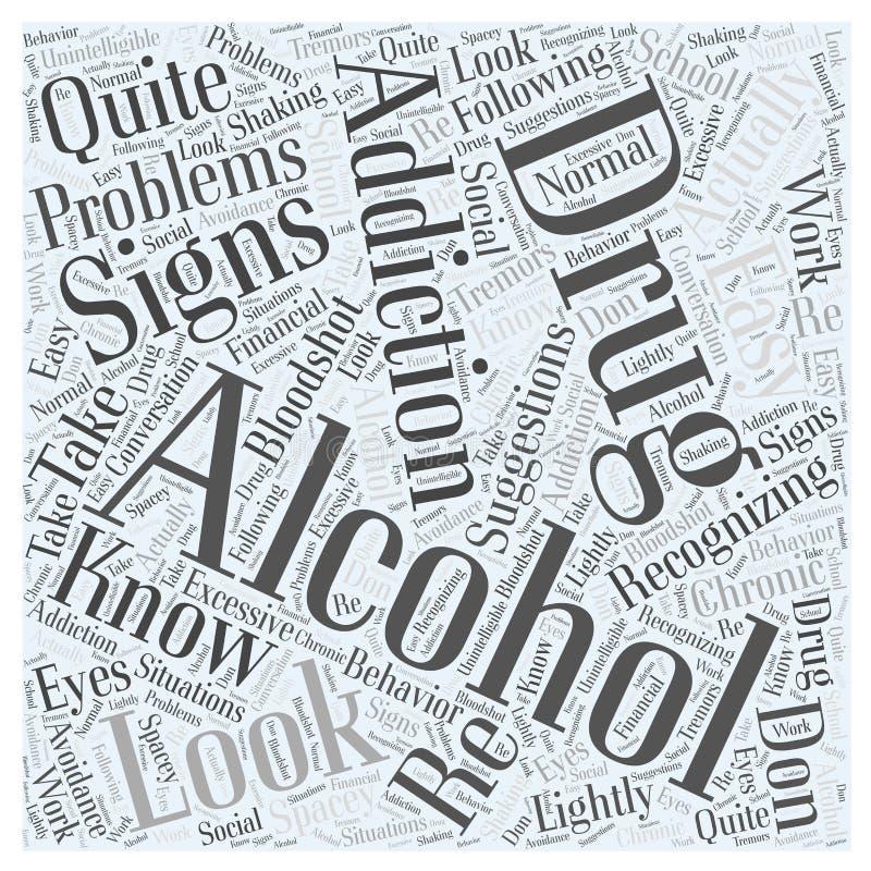 Alkohol und Drogensucht fassen Wolkenkonzept-Vektorhintergrund ab lizenzfreie abbildung