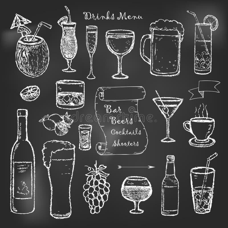 Alkohol- und Getränkcocktailmenü auf schwarzem Brett stock abbildung