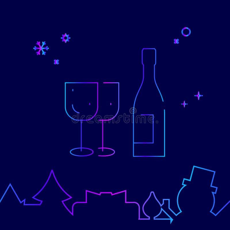 Alkohol vin, festlig matställevektorlinje symbol, symbol, Pictogram, tecken på ett mörkt - blå bakgrund Släkt nedersta gräns stock illustrationer