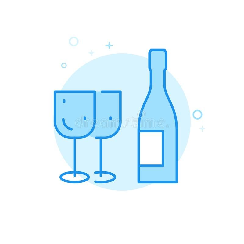 Alkohol vin, plan vektorsymbol för festlig matställe, symbol, Pictogram, tecken Ljust - blå monokrom design Redigerbar slaglängd royaltyfri illustrationer