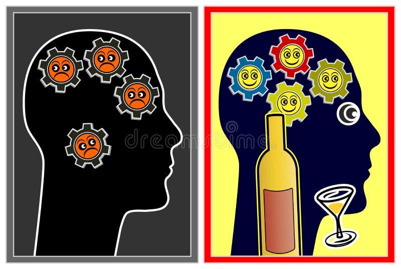 Alkohol wpływa nastrój royalty ilustracja