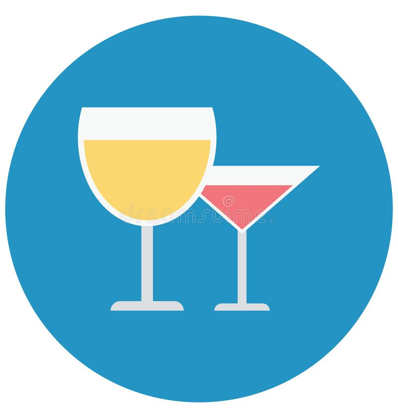 Alkohol, zakąska napój Odizolowywał kolor Wektorową ikonę która może łatwo redagować lub modyfikująca ilustracji