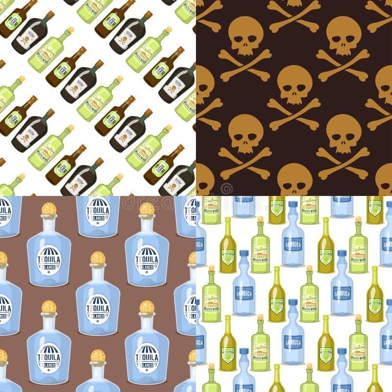 Alkoholalkoholische getränke Musterhintergrundwhiskykognakweinbrand-Weinillustration der Flaschenkarikaturgläser in der nahtlosen stock abbildung