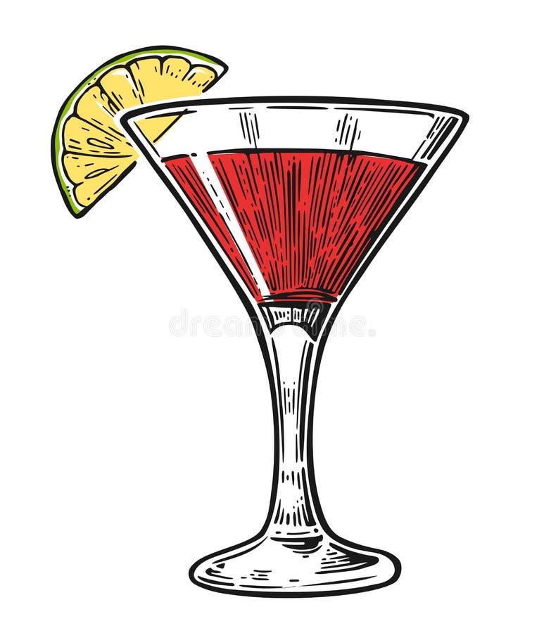 Alkoholcocktail kosmopolitisch lizenzfreie abbildung