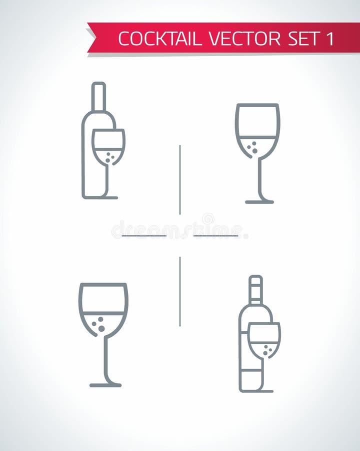 Alkoholcoctailar och uppsättning för drinksymbolsvektor vektor illustrationer