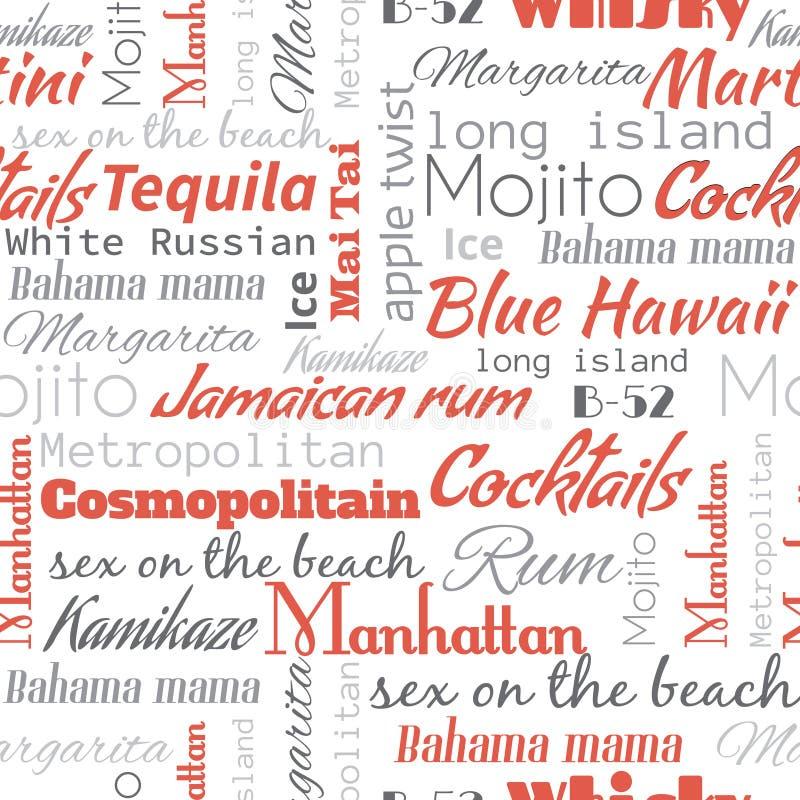 Alkoholcoctailar uttrycker, etiketter seamless modell vektor illustrationer